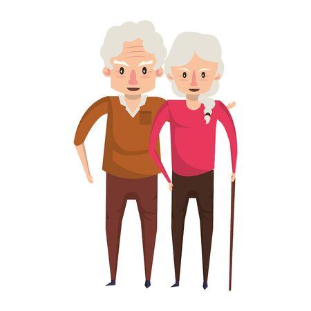 abuelos ancianos ancianos jubilados abuela y abuelo pareja amor dibujos animados ilustración vectorial diseño gráfico