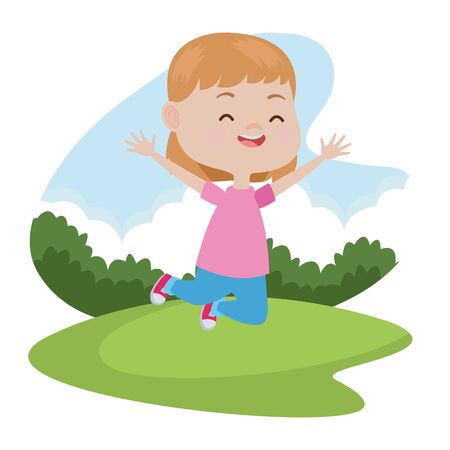 Beautiful girl jumping, smiling and having fun at nature outdoors ,vector illustration graphic design. Illustration