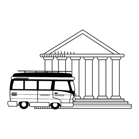 travel van and pantheon icon over white background, vector illustration
