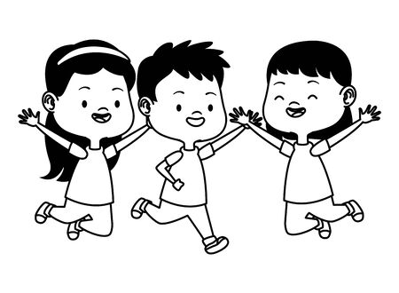 Happy kids smiling and playing with friends cartoon vector illustration graphic design. Illusztráció