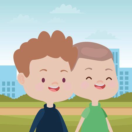 happy kids boys playing and having fun in the park over cityscape urban scenery ,vector illustration graphic design. Illusztráció