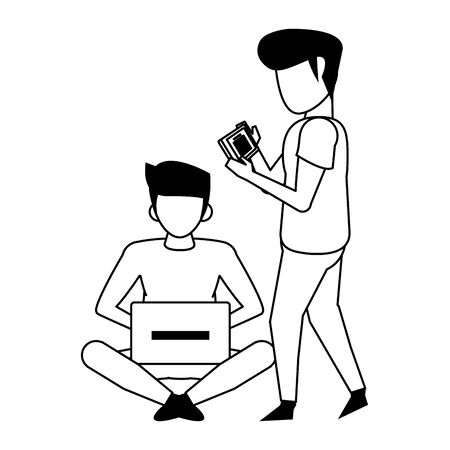 men using technology devices, smartphone and laptop computer cartoon vector illustration graphic design