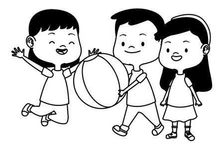 Happy kids smiling and playing with friends and ball cartoon vector illustration graphic design.