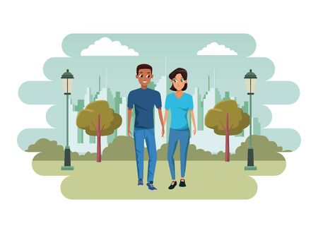 Young couple boyfriend and girlfriend smiling and walking cartoon in the city park with cityscape background vector illustration graphic design