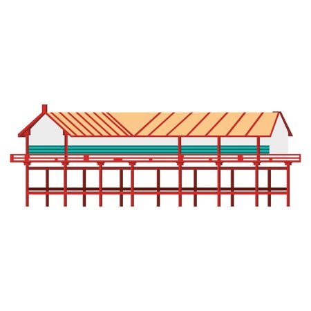 Asian temple icon over white background, vector illustration Stock fotó - 133108526