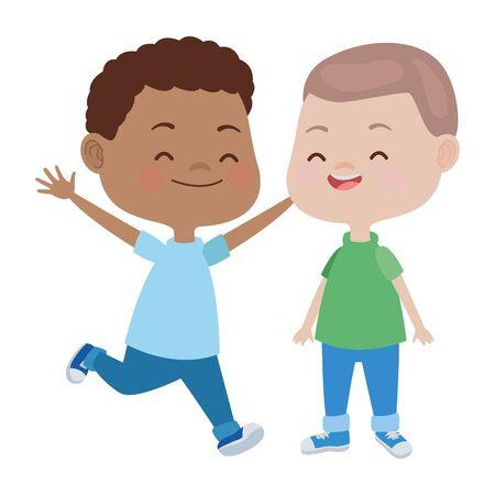 happy kids boys playing and having fun vector illustration graphic design. Illusztráció