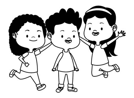 Happy kids smiling and playing with friends cartoon vector illustration graphic design. Illustration
