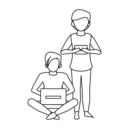 avatar two persons using a electronic devices over white background, vector illustration
