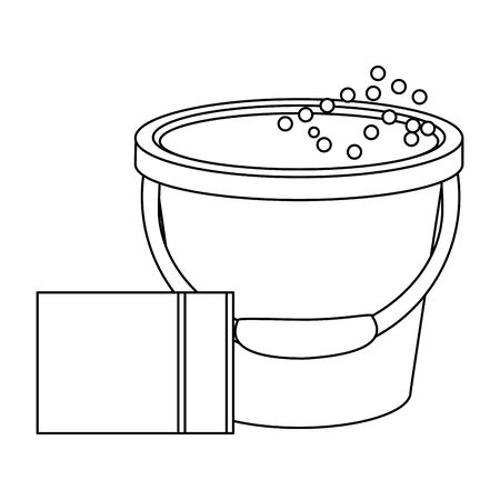Cleaning equipment and products sponge and bucket with water vector illustration graphic design.