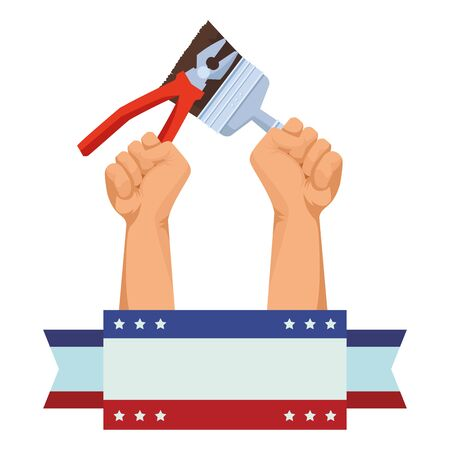Construction workers hands holding pliers and paint brush tools ,vector illustration graphic design.