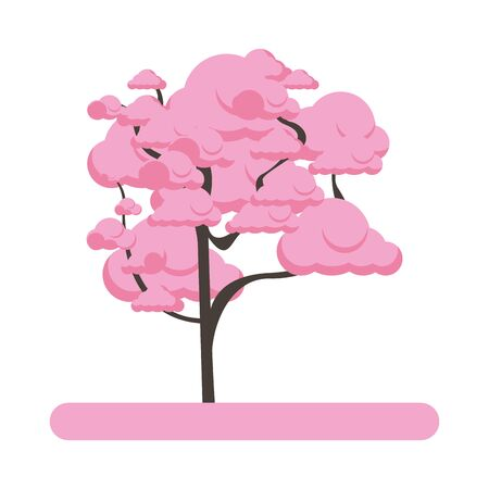 icône d'arbre de fleur de cerisier sur fond blanc, design coloré. illustration vectorielle