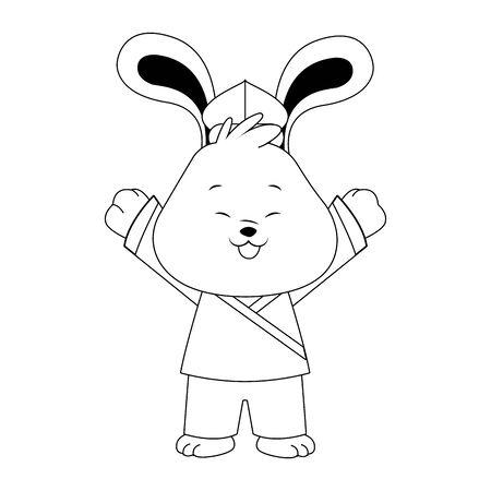 Happy cute rabbit icon over white background, vector illustration