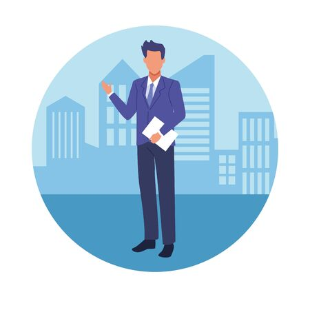 Executive businessman with clipboard in the city cartoon round icon vector illustration graphic design. Stock Vector - 133109065