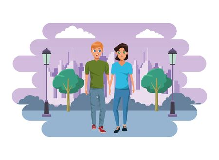 Young couple boyfriend and girlfriend smiiling and walking cartoon in the city park with cityscape background vector illustration graphic design