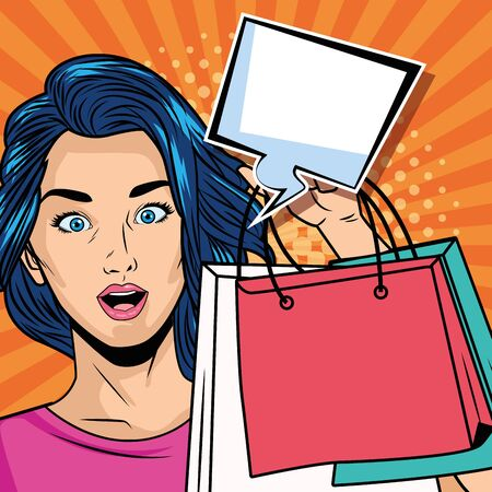 girl with shopping bags and speech bubble pop art style character vector illustration
