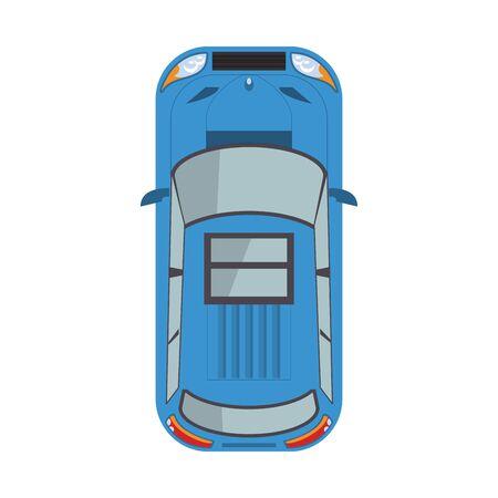 widok z góry ikony samochodu na białym tle, ilustracji wektorowych