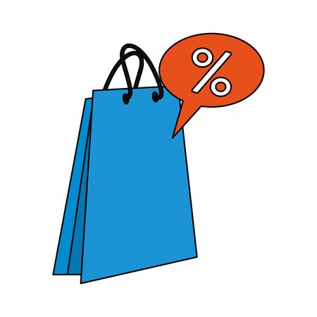 shopping retail sale store, shopping bag with discount label price cartoon vector illustration graphic design