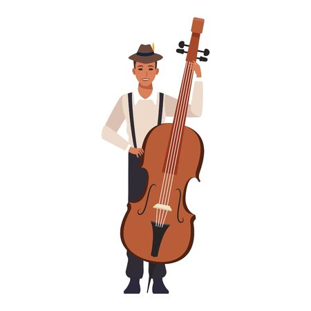 cartoon musician with a cello over white background, colorful flat design. vector illustration