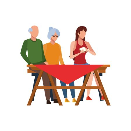 old couple and woman sitting on picnic table icon over white background, vector illustration