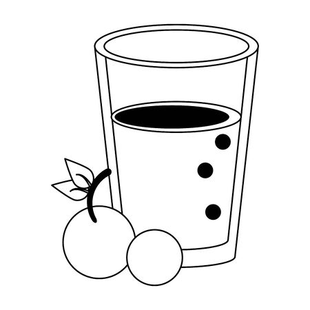 healthy drink juice cherry nature glass cartoon vector illustration graphic design 일러스트