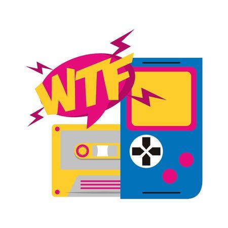 pop art design of retro cassette and portable video game over white background, vector illustration