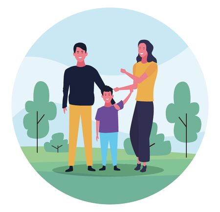 Happy family with son in the park over white background, colorful design. vector illustration Banque d'images - 133114926
