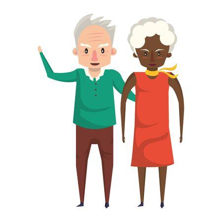 grandparents senior old retirement people grandmother and grandfather couple love cartoon vector illustration graphic design Vector Illustratie