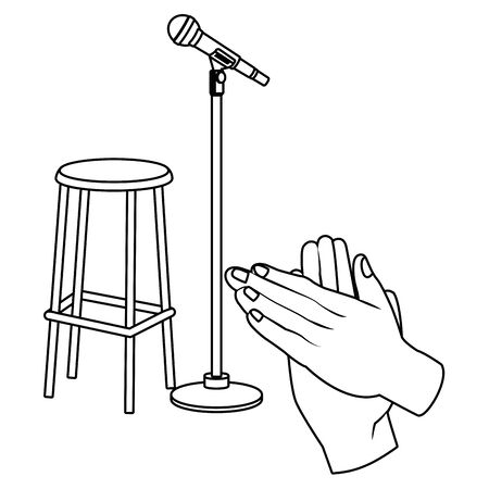 microphone and chair icon cartoon and hands clapping black and white vector illustration graphic design