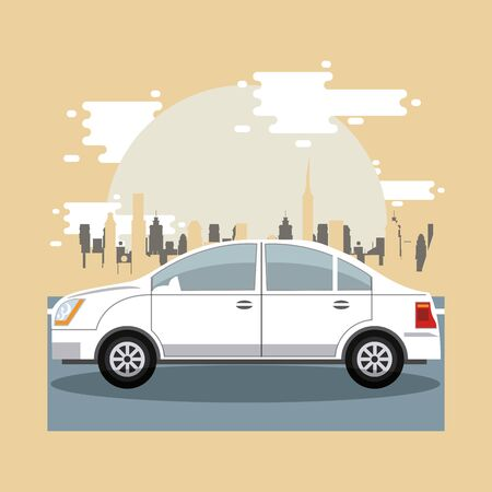Car riding in the city scenery with buildings, vehicle and cityscape. vector illustration graphic design Banque d'images - 133115979