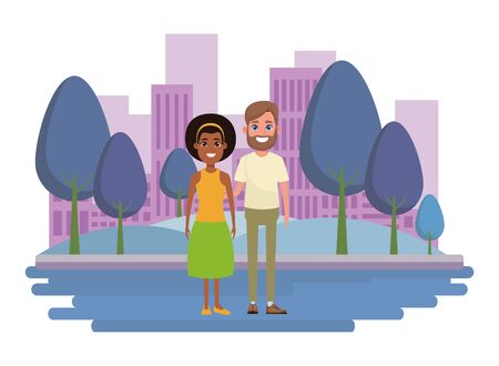 couple avatar man with beard and afroamerican woman wearing bandana profile picture cartoon character portrait outdoor Banque d'images - 133134843
