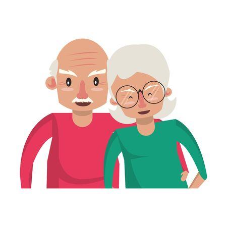 abuelos ancianos ancianos jubilados abuela y abuelo pareja amor dibujos animados ilustración vectorial diseño gráfico Ilustración de vector