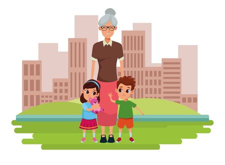 Family grandmother hand of with grandchildrens cartoons on city park scenery background ,vector illustration graphic design. Ilustracja