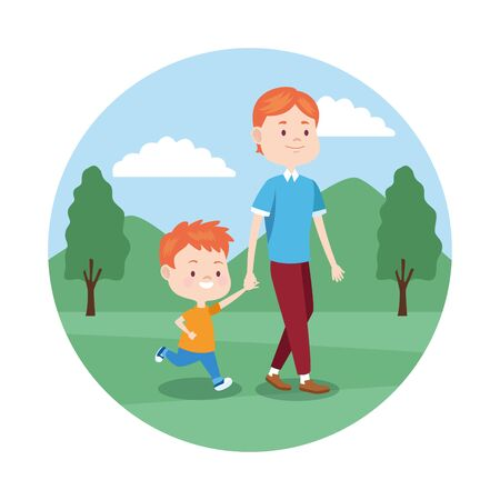 cartoon father and son walking over white background, colorful design , vector illustration Banque d'images - 133134872