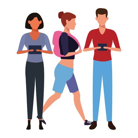 casual people with technology device cartoon vector illustration graphic design