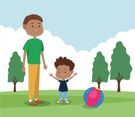 cartoon father and his son playing in the park, colorful design , vector illustration Banque d'images - 133122578