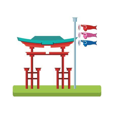 Tori gate and Japanese koinobori flag over white background, vector illustration