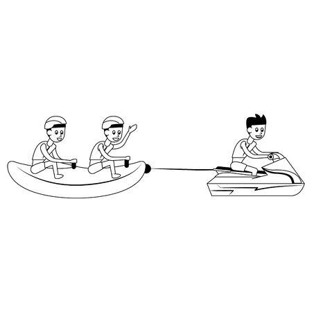 Dos hombres en banana flotador divertido entretenimiento aislado ilustración vectorial de dibujos animados diseño gráfico