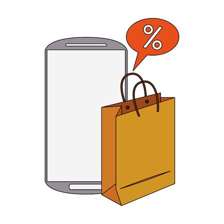 online shopping ecommerce sale, buying by smartphone cartoon vector illustration graphic design