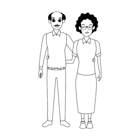 happy old woman and man together over white background, flat design. vector illustration Stock Illustratie