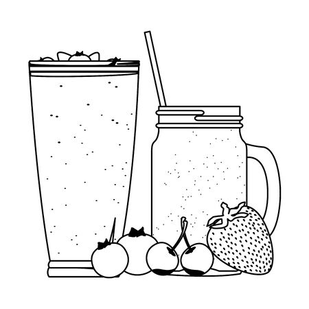 tropical fruit and smoothie drinks with cherries, bluberries and strawberry icon cartoon in black and white vector illustration graphic design Çizim