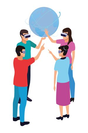 virtual reality technology, friends living a modern digital experience with headset glassestouching world map cartoon vector illustration graphic design Illustration