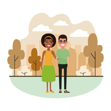couple avatar man wearing glasses and afroamerican woman wearing bandana profile picture cartoon character portrait Banque d'images - 133122506