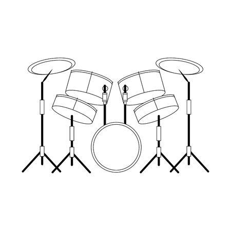 musical drums set icon over white background, flat design, vector illustration