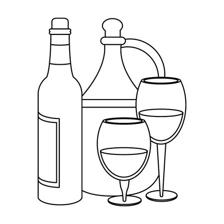 jug and bottle of wine and wineglass icon over white background, vector illustration
