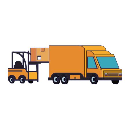 Forklift loading box to delivery van isolated vector illustration Foto de archivo - 133136932