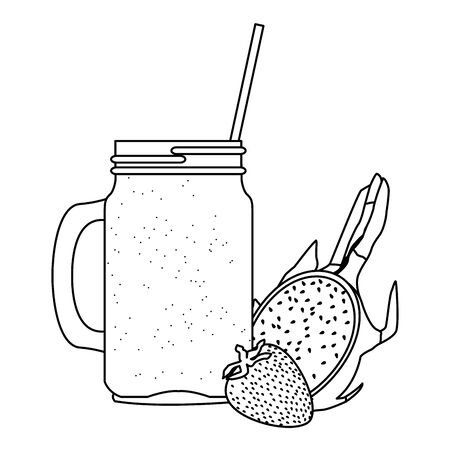 tropical fruit and smoothie drink with strawberry and pitahaya icon cartoon in black and white vector illustration graphic design
