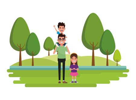 family avatar father with glasses carrying a boy in the shoulder next to a child profile picture cartoon character portrait Banque d'images - 133149297