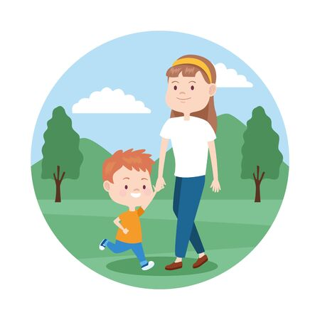 cartoon mother with her son in the park over white background, colorful design , vector illustration Banque d'images - 133149304