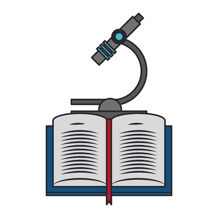 book and microscope icon over white background, vector illustration Stock Illustratie