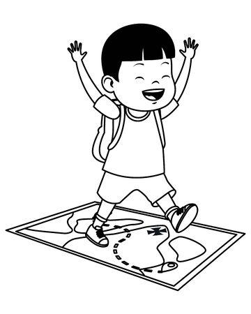Happy boy smiling with hands up on adventure map ,vector illustration graphic design. Ilustração Vetorial